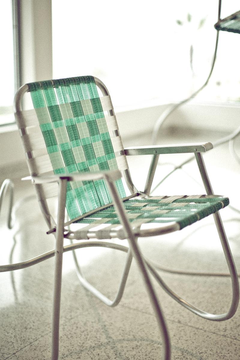 100 aluminum folding chair webbing vintage green webbed for Lawn chair webbing